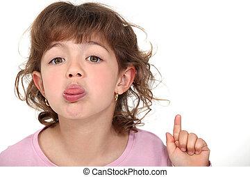aderindo, pequeno, dela, menina, língua