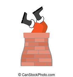 aderindo, santa, isolated., claus, chimney., aderido, modelo, ano, tradition., novo, pernas, natal, saída