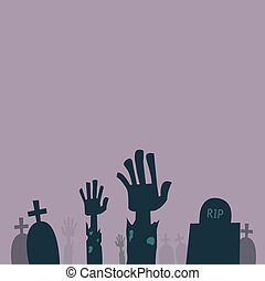 aderindo, zombie, saída, sepultura, mãos