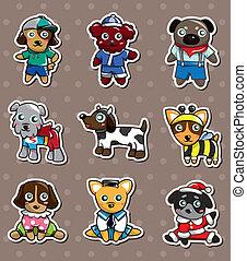 adesivi, cartone animato, cane