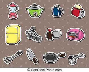 adesivi, cartone animato, cucina