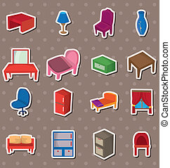adesivi, cartone animato, mobilia