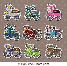 adesivi, cartone animato, motocicletta