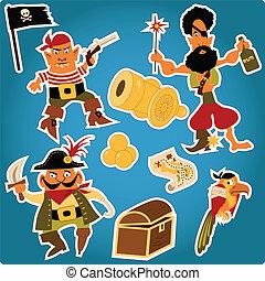 adesivi, cartone animato, pirati