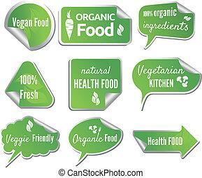 adesivi, cibo, set, sano