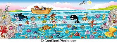 Adesivi con scenografia il mare e il fondale marino, con tutti i suoi pesci, molluschi.