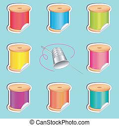 adesivi, ditale, ago, fili