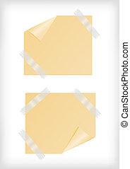 adesivi, giallo, nastro, angolo, scotch, arricciato
