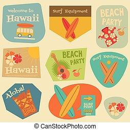 adesivi, hawai, collezione