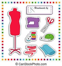 adesivi, moda, cucito, arcobaleno