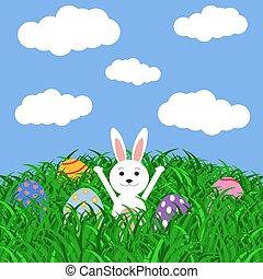 adesivi, uova, erba, coniglietto pasqua