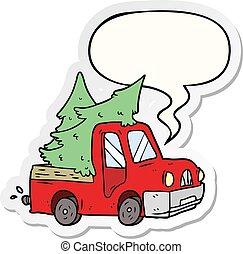 adesivo, árvores, caricatura, pickup, carregar, caminhão, borbulho fala, natal
