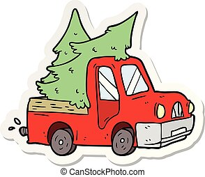 adesivo, árvores, pickup, carregar, caminhão, caricatura