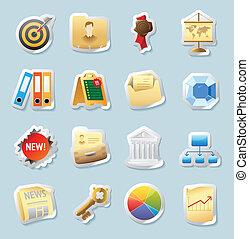 adesivo, ícones, para, negócio, e, finanças