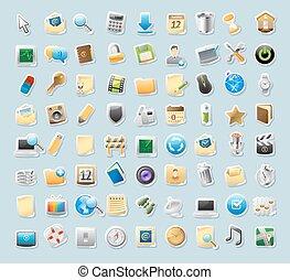 adesivo, ícones, para, sinais, e, interface