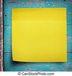 adesivo amarelo, nota papel, ligado, madeira, parede
