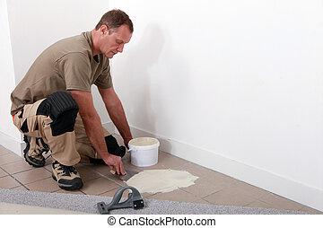 adesivo, applicare, pavimento, montatore, sopra,...