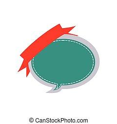 adesivo, balloon, dialogo, disegno scatola, con, nastro