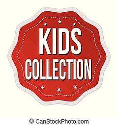 adesivo, bambini, o, collezione, etichetta