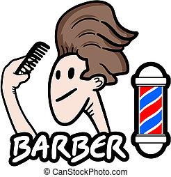 adesivo, barbiere
