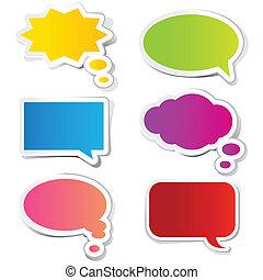 adesivo, bolla, chiacchierata