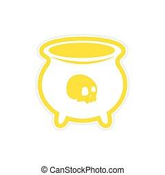 adesivo, bruxas, cauldron, com, um, cranio, branco, fundo