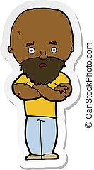 adesivo, calvo, chocado, barba, caricatura, homem