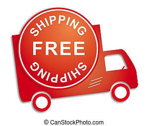 adesivo, caminhão, livre, despacho, vermelho