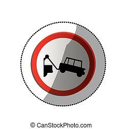 adesivo, camion, rimorchio, punteggiato, segno