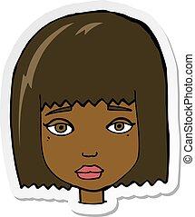 adesivo, caricatura, cara fêmea