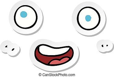 adesivo, caricatura, rosto