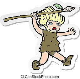 adesivo, cartone animato, caveman