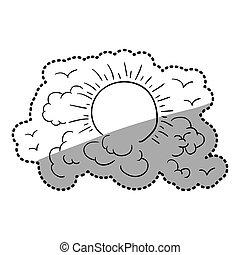adesivo, contorno, nuvens, em, céu, com, sol, e, pássaros