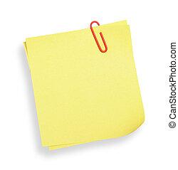 adesivo, cortando, path), note(with, amarela