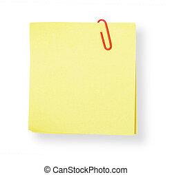 adesivo, cortando, (with, nota amarela, fundo, branca, path)