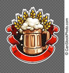 adesivo, de, madeira, cerveja assalta, com, trigo, orelhas