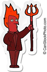 adesivo, diavolo, cartone animato, forcone