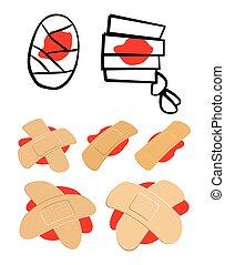 adesivo, differente, set, fondo., intonacare, shapes., puddle., illustrazione, isolato, apparecchiatura, vettore, fasciatura, bianco, medico, rosso, sangue