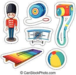 adesivo, disegno, con, differente, giocattoli