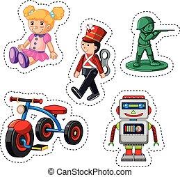 adesivo, disegno, per, differente, giocattoli