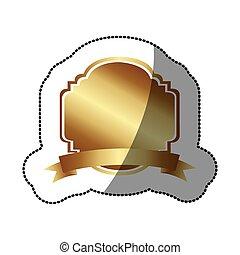 adesivo, dourado, decorativo, heraldic, quadro, desenho, com, fita