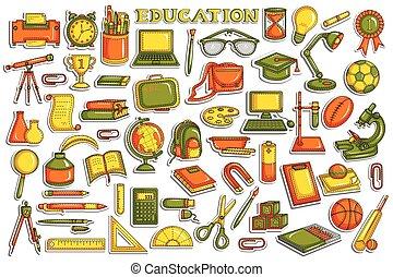 adesivo, educazione, collezione, oggetto