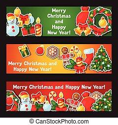 adesivo, feliz, ano, novo, bandeiras, natal, feliz
