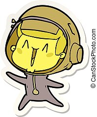 adesivo, feliz, astronauta, pular, caricatura