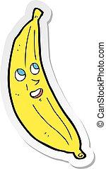 adesivo, feliz, banana, caricatura