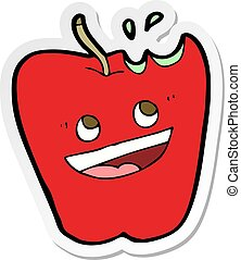 adesivo, feliz, maçã, caricatura