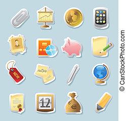 adesivo, finanças, ícones negócio