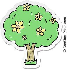 adesivo, fiori, albero, cartone animato