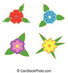 adesivo, flores, ligado, um, fundo branco