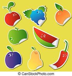 adesivo, fruta, jogo